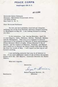Letter to James Herman Robinson from Shriver.