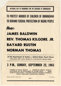 "This flyer is for a ""National Day of Mourning for the Children of Birmingham""  held in New York City on September 22, 1963."